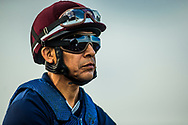 HALLANDALE BEACH, FL - JANUARY 25: Jockey Edgar Prado at track work for the Pegasus World Cup Invitational at Gulfstream Park Race Track on January 25, 2018 in Hallandale Beach, Florida. (Photo by Alex Evers/Eclipse Sportswire/Breeders Cup)