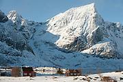 Flakstadtinden at Flakstadpollen, Lofoten, Norway in Februaru 2013.