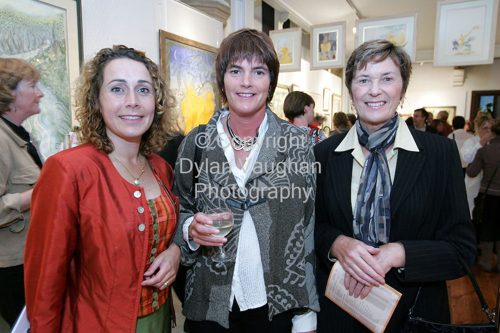 17/9/2004.Pictured at the opening of Pauline Bewick's Tellow Man collection at the Municipal Gallery at Greyfriars in Waterford to coincide with the Ruby Lounge Waterford Fringe Festival was Claire Keegan Solo Arte, Mary Purcell and Marion Cantwell..Picture Dylan Vaughan