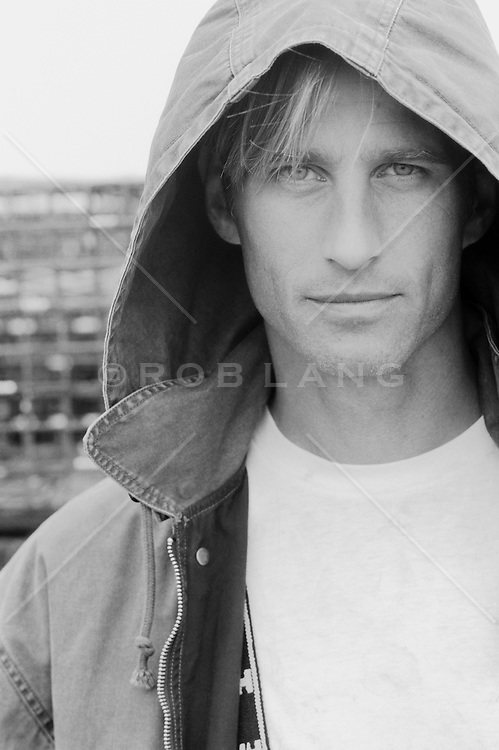 Man in a hooded jacket