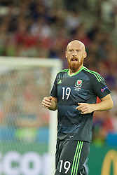 LYON, FRANCE - Wednesday, July 6, 2016: Wales' James Collins in action against Portugal during the UEFA Euro 2016 Championship Semi-Final match at the Stade de Lyon. (Pic by David Rawcliffe/Propaganda)