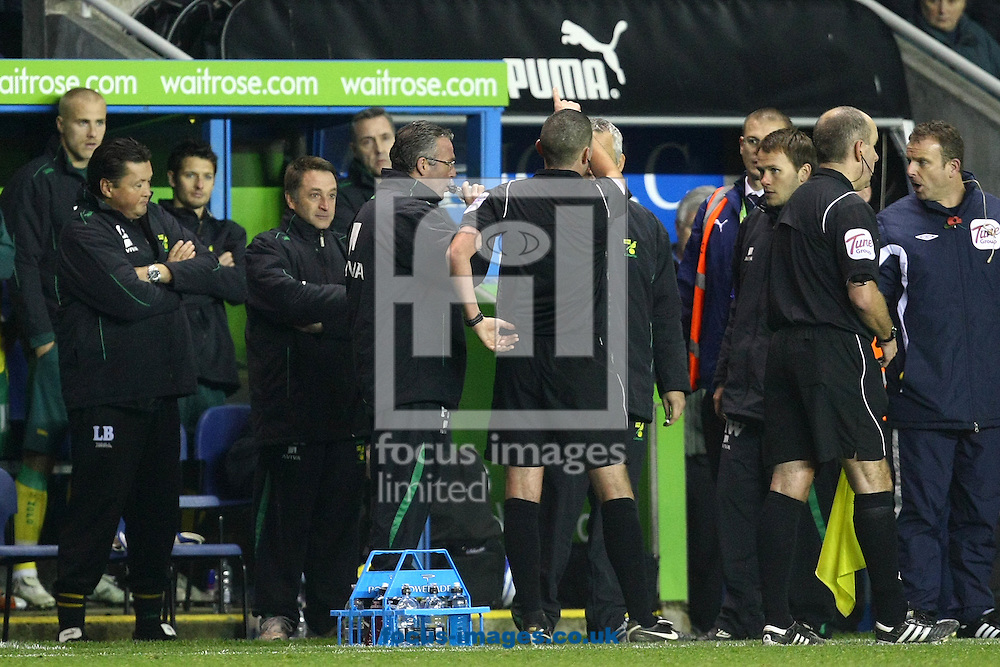 Reading - Saturday November 13th, 2010: Norwich Manager Paul Lambert leaves his technical area to protest about a foul on Norwich's Korey Smith and gets sent off by referee Michael Oliver during the Npower Championship match at The Madejski Stadium, Reading. (Pic by Paul Chesterton/Focus Images)
