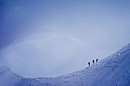 Climbers attempting the Mount Blanc ascent, France