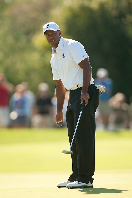 NORTON, MA - SEPTEMBER 4: Tiger Woods plays a shot during the second round of the Deutsche Bank Championship at TPC Boston on September 4, 2010 in Norton, Massachusetts. (Photo by Darren Carroll/Getty Images) *** Local Caption *** Tiger Woods