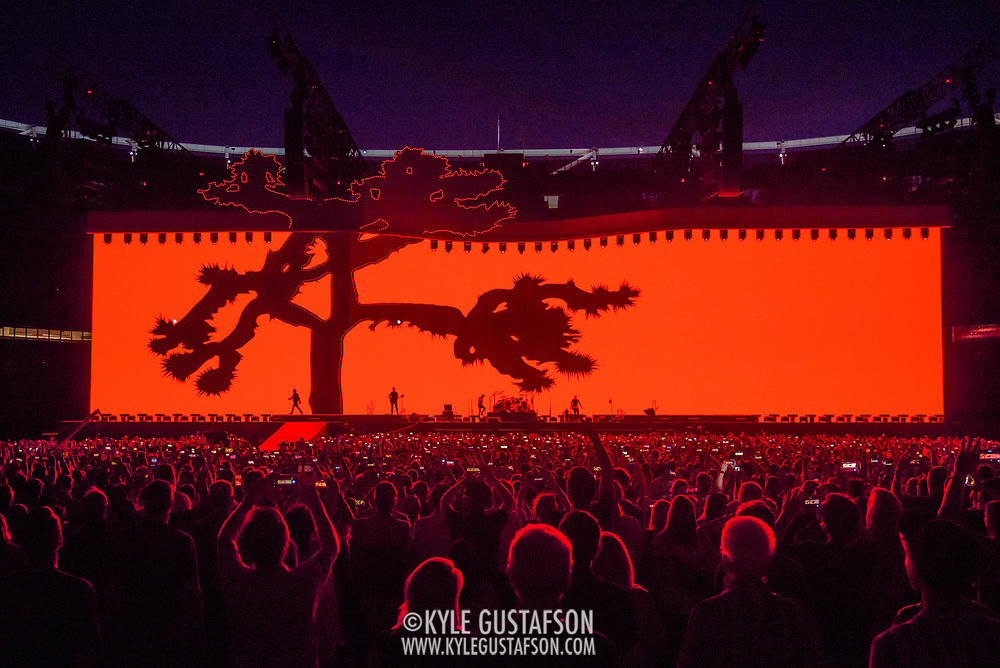 HYATTSVILLE, MD - June 20th, 2017 - Adam Clayton, Bono, Larry Mullen Jr. and The Edge of U2 take the stage at FedEx Field as part of the band's 30th anniversary tour of The Joshua Tree. (Photo by Kyle Gustafson / For The Washington Post)