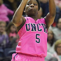UNCW's Shatia Cole shoots against Northeastern Sunday February 15, 2015 at Trask Coliseum. (Jason A. Frizzelle)