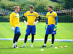 Bristol Rovers' goalkeepers, Steve Mildenhall, Matt Macey and Conor Gough - Photo mandatory by-line: Dougie Allward/JMP - Tel: Mobile: 07966 386802 24/06/2013 - SPORT - FOOTBALL - Bristol -  Bristol Rovers - Pre Season Training - Npower League Two