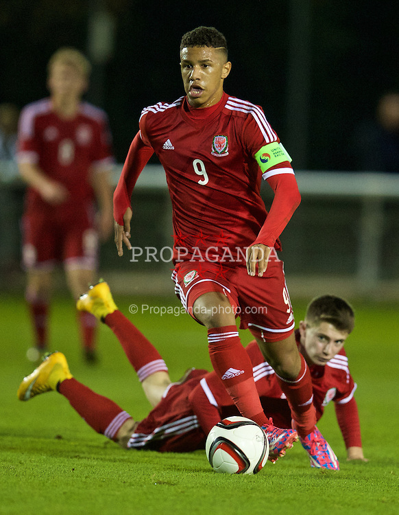 BANGOR, WALES - Friday, October 31, 2014: Wales' captain Tyler Roberts in action against England during the Under-16's Victory Shield International match at the Nantporth Stadium. (Pic by David Rawcliffe/Propaganda)