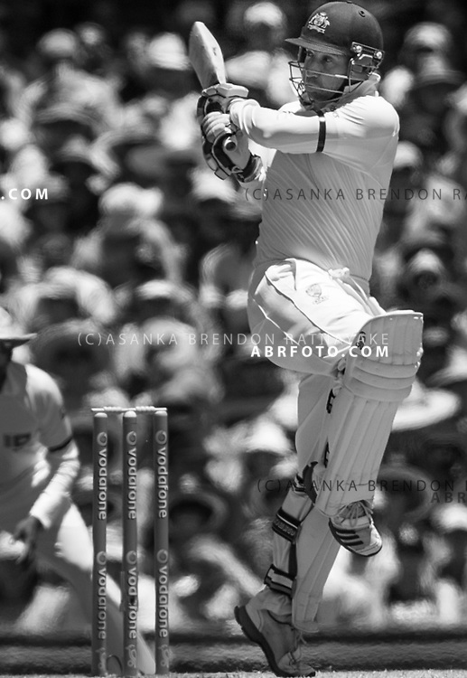 Phil Hughes plays a pull shot on one leg during the 3rd test between Australia Vs Sri Lanka at the SCG 2013