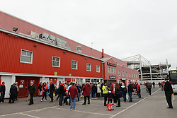 Bristol City fans at Ashton Gate before departing for Wembley for the Johnstone Paint Trophy final - Photo mandatory by-line: Dougie Allward/JMP - Mobile: 07966 386802 - 22/03/2015 - SPORT - Football - London - Wembley Stadium - Bristol City v Walsall - Johnstone Paint Trophy Final