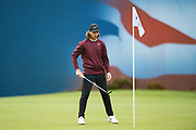 Tommy Fleetwood of England before his put on the 18th  during the British Masters 2018 at Walton Heath Golf Course, Walton On the Hill, Surrey  on 11 October 2018. Picture by Martin Cole.
