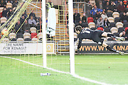 James Shea (Goalkeeper) of AFC Wimbledon back from injury is unable to stop Alex Rodman of Newport County goal during the Sky Bet League 2 match between Newport County and AFC Wimbledon at Rodney Parade, Newport, Wales on 19 December 2015. Photo by Stuart Butcher.