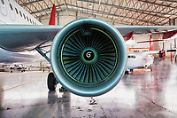 Close up of airplane engine in airport