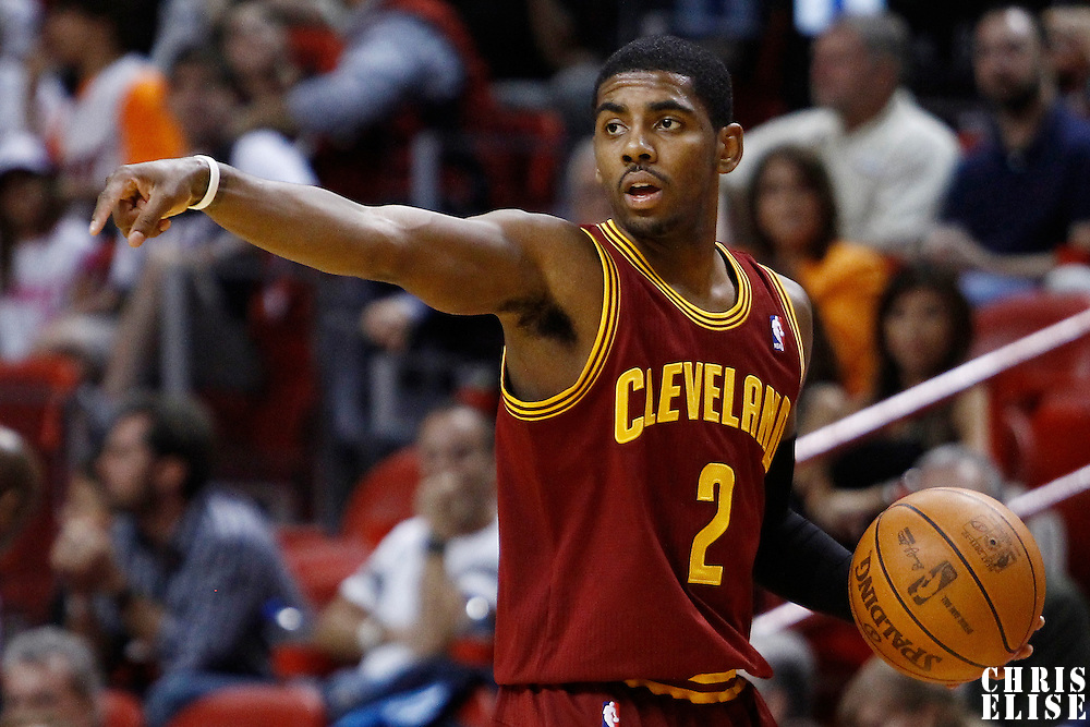 24 January 2012: Cleveland Cavaliers point guard Kyrie Irving (2) calls a play as he brings the ball up court during the Miami Heat 92-85 victory over the Cleveland Cavaliers at the AmericanAirlines Arena, Miami, Florida, USA.