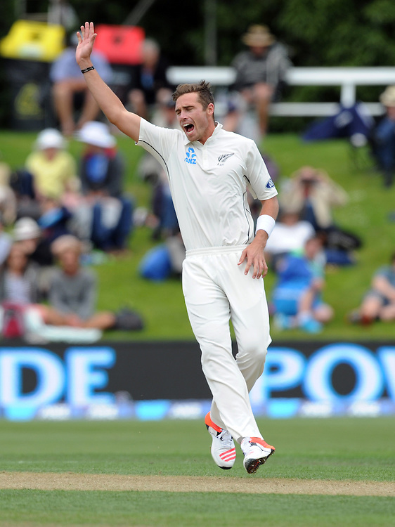 New Zealand's Tim Southee makes an unsccessful appeal for a Sri Lanka wicket on day two of the first International Cricket Test, University Cricket Oval, Dunedin, New Zealand, Friday, December 11, 2015. (Credit:SNPA / Ross Setford