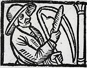 Mower sharpening his scythe. Woodcut from 'Calendarum Romanum Magnum',  1518.