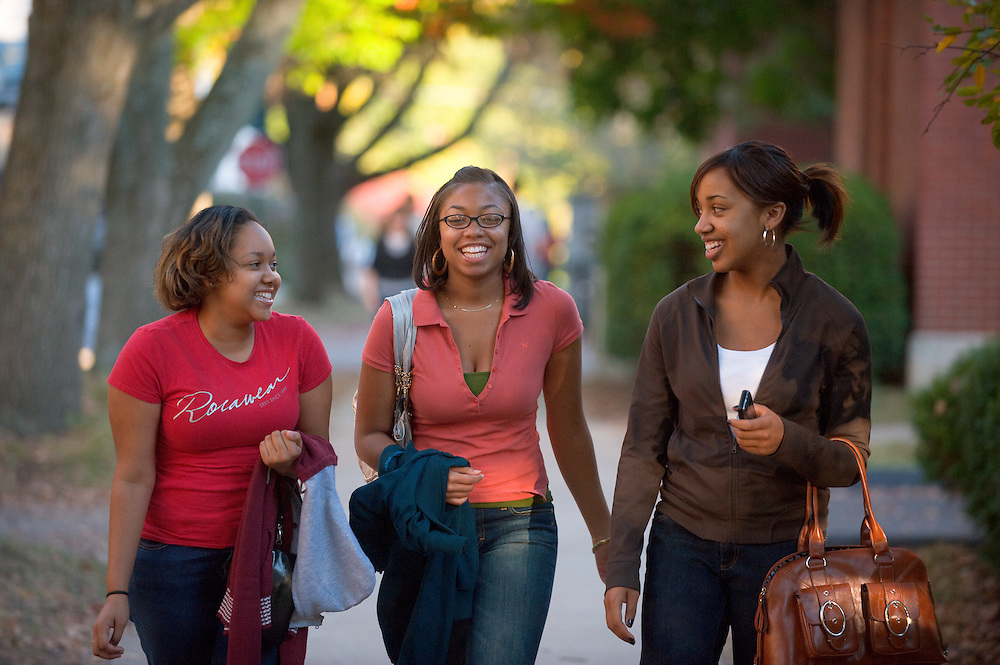 19089Campus fall..left to right:..Dana Dorsey(red), Sarah Winkfield, and Jasmine Rogers