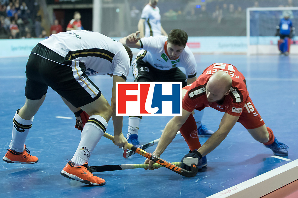 Hockey, Seizoen 2017-2018, 09-02-2018, Berlijn,  Max-Schmelling Halle, WK Zaalhockey 2018 MEN, Germany - Switzerland 3-0, Florian Feller and Ferdinand Weinke and Tobias Hauke. Worldsportpics copyright Willem Vernes