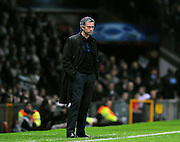 Jose Mourinho looks on as Inter Milan crash out during the UEFA Champions League First Knockout Round Second Leg match between Manchester United and Inter Milan at Old Trafford on March 11 2009, in Manchester, England.