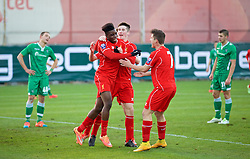 SOFIA, BULGARIA - Wednesday, November 26, 2014: Liverpool's Oviemuno Ejaria Sheyi Ojo celebrates scoring the first goal against PFC Ludogorets Razgrad during the UEFA Youth League Group B match at the Georgi Asparuhov Stadium. (Pic by David Rawcliffe/Propaganda)