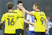 Celebrations as Burton Albion defender Calum Butcher (12) scores Burton's third goal to win 3-2 during the EFL Cup match between Burton Albion and Bury at the Pirelli Stadium, Burton upon Trent, England on 10 August 2016. Photo by Aaron  Lupton.