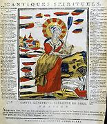 St Genevieve (423-512), Patron saint of Paris. 19th century French coloured woodcut.