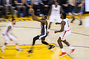 Golden State Warriors forward Kevin Durant (35) takes the ball to the basket against the LA Clippers at Oracle Arena in Oakland, California, on February 22, 2018. (Stan Olszewski/Special to S.F. Examiner)
