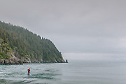 Standup paddleboarder wearing a red dry suit and paddling near the coast of Kenai Fjords National Park.