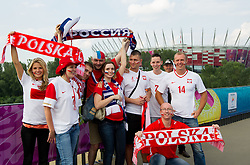 Polish and Russian fans prior to the UEFA EURO 2012 group A match between Poland and Russia at National Stadium on June 12, 2012 in Warsaw, Poland.  (Photo by Vid Ponikvar / Sportida.com)