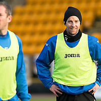 St Johnstone Training....30.12.14<br /> Striker Steven MacLean pictured alongside Frazer Wright in training this morning ahead of the New Years Day game at Aberdeen.<br /> Picture by Graeme Hart.<br /> Copyright Perthshire Picture Agency<br /> Tel: 01738 623350  Mobile: 07990 594431