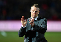 Football - 2018 / 2019 Emirates FA Cup - Fifth Round: Newport County vs. Manchester City<br /> <br /> Newport County manager Michael Flynn applauds the fans after their 4-1 defeat, at Rodney Parade.<br /> <br /> COLORSPORT/ASHLEY WESTERN