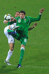 Marko Suler (4) and Kyle Lafferty at the fourth round qualification game of 2010 FIFA WORLD CUP SOUTH AFRICA in Group 3 between Slovenia and Northern Ireland at Stadion Ljudski vrt, on October 11, 2008, in Maribor, Slovenia.  (Photo by Vid Ponikvar / Sportal Images)