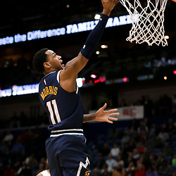 Jan 30, 2019; New Orleans, LA, USA; Denver Nuggets guard Monte Morris (11) shoots against the New Orleans Pelicans during the first quarter at the Smoothie King Center. Mandatory Credit: Derick E. Hingle-USA TODAY Sports