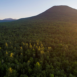 An aerial view of the forest in Jackson, New Hampshire. White Mountains. Mount Doublehead.