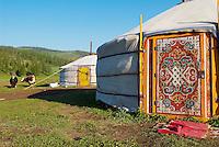 Mongolie. Province d'Ovorkhangai. Campement de yourte. Vallee de l'Orkhon. // Mongolia. Ovorkhangai province. Yurt camp. Okhon valley.