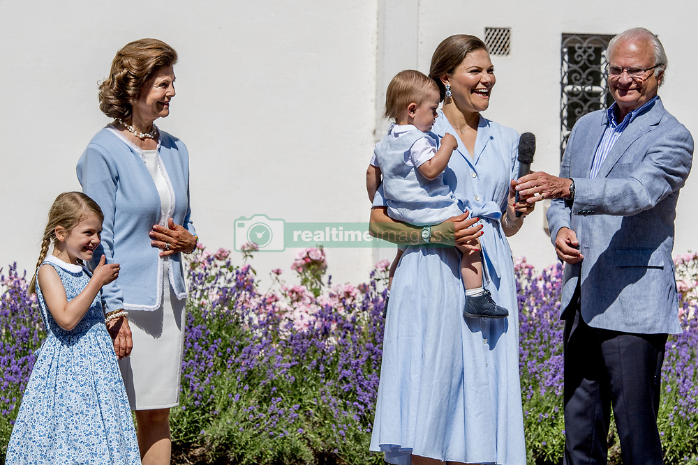 King Carl Gustaf, Quen Silvia, Crown Princess Victoria and children Princess Estelle, Prince Oscar during the traditionally celebration of Crown Princess Victoria's birthday at the royal family's summer residence, Solliden Palace in Borgholm, Öland, Sweden, on July 15, 2017, a day later Stockholm celebration. Photo by Robin Utrecht/ABACAPRESS.COM