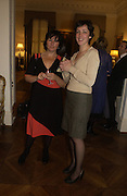 Jennifer Higgie and Donna Haddleston. Dinner at the Italian Embassy in which the winner of the MaxMara Art Prize for Women is announced. Grosvenor Sq. London . 2 February  2006. © Copyright Photograph by Dafydd Jones 66 Stockwell Park Rd. London SW9 0DA Tel 020 7733 0108 www.dafjones.com