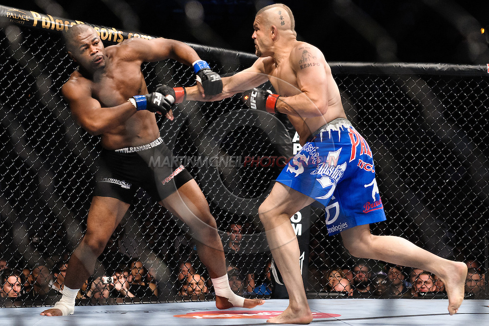 "ATLANTA, GEORGIA, SEPTEMBER 6, 2008: Rashad Evans (left) is stunned by a punch from Chuck Liddell during ""UFC 88: Breakthrough"" inside Philips Arena in Atlanta, Georgia on September 6, 2008"