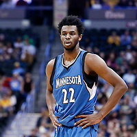 15 February 2017: Minnesota Timberwolves forward Andrew Wiggins (22) is seen during the Minnesota Timberwolves 112-99 victory over the Denver Nuggets, at the Pepsi Center, Denver, Colorado, USA.