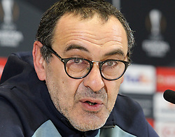 March 13, 2019 - Kiev, Ukraine - Chelsea manager MAURIZIO SARRI  speaks during a media conference in Kiev, Ukraine, on 13 March 2019. Chelsea will face Dynamo Kyiv in the UEFA Europa League, second leg soccer match in Kiev on 14 March 2019. (Credit Image: © Serg Glovny/ZUMA Wire)