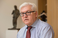 15 JAN 2013, BERLIN/GERMANY:<br /> Frank-Walter Steinmeier, SPD Fraktionsvorsitzender, waehrend einem Interview, in seinem Buero, Jakob-Kaiser-Haus, Deutscher Budnestag<br /> IMAGE: 20130115-01-016<br /> KEYWORDS: B&uuml;ro