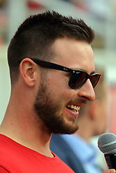 21 October 2017:   Paul DeJong of baseball Redbird and St. Louis Cardinal fame appears on the sidelines during the South Dakota Coyotes at Illinois State Redbirds Football game at Hancock Stadium in Normal IL (Photo by Alan Look)