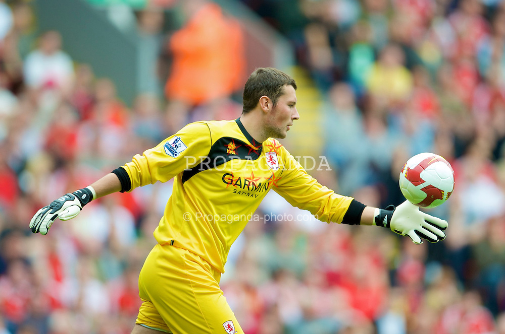 LIVERPOOL, ENGLAND - Saturday, August 23, 2008: Middlesbrough's goalkeeper Ross Turnbull during the Premiership match against Liverpool at Anfield. (Photo by David Rawcliffe/Propaganda)