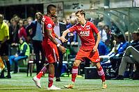 LIENDEN - 21-09-2016, FC Lienden - AZ, Sportpark de Abdijhof, 1-3, wissel, debuut voor AZ speler Jeremy Helmer (r), AZ speler Fred Friday (l).