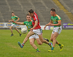 Mayo&rsquo;s Tommy Conroy takes on the Leitrim defence during the Connacht Semi-final at MacHale Park.<br />Pic Conor McKeown