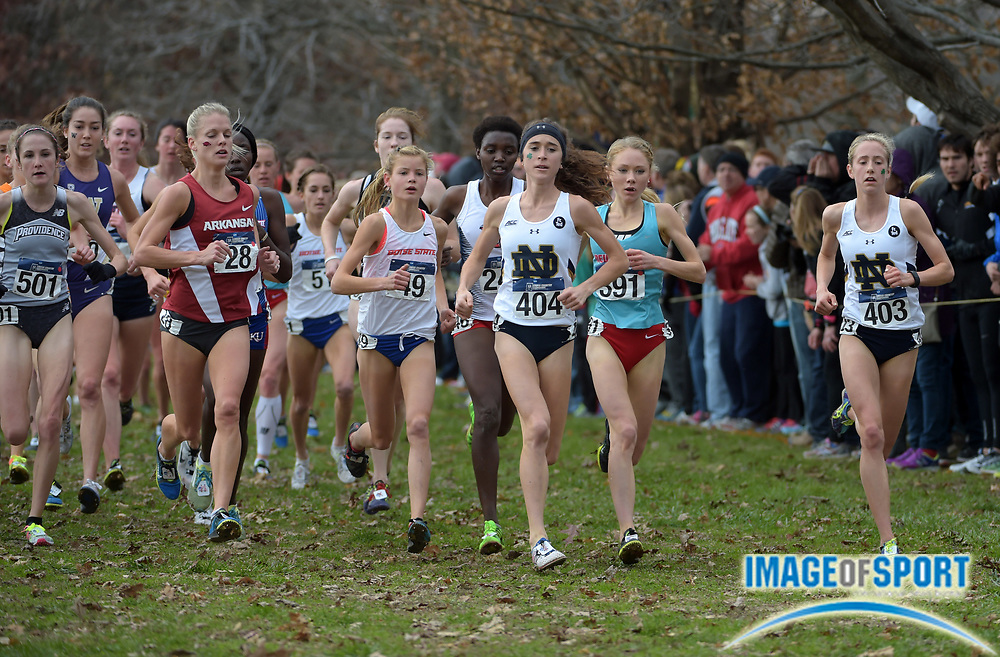 Nov 21, 2015; Louisville, KY, USA; Molly Seidel of Notre Dame (404) wins the womens race in 19:28 during the 2015 NCAA cross country championships at Tom Sawyer Park. From left: Dominique Scott of Arkansas (28), Allie Ostrander of Boise State (49), Seidel and Alice Wright of New Mexico Alice Wright (391) and Anna Rohrer of Notre Dame (403). Mandatory Credit: Kirby Lee-USA TODAY Sports