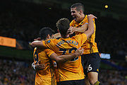 Raúl Jiménez of Wolverhampton Wanderers scores a goal and celebrates during the Europa League play off leg 2 of 2 match between Wolverhampton Wanderers and Torino at Molineux, Wolverhampton, England on 29 August 2019.
