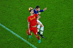 LIVERPOOL, ENGLAND - Monday, December 19, 2016: Liverpool's Dejan Lovren in action against Everton's Ross Barkley during the FA Premier League match, the 227th Merseyside Derby, at Goodison Park. (Pic by Gavin Trafford/Propaganda)