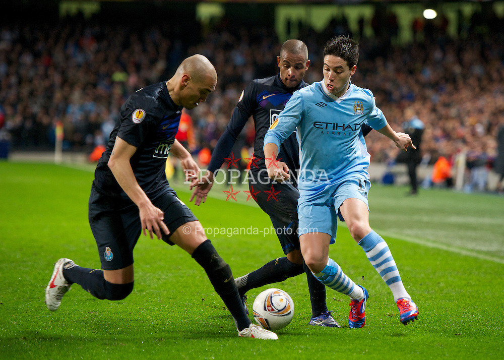 MANCHESTER, ENGLAND - Wednesday, February 22, 2012: Manchester City's Samir Nasri in action against FC Porto during the UEFA Europa League Round of 32 2nd Leg match at City of Manchester Stadium. (Pic by David Rawcliffe/Propaganda)