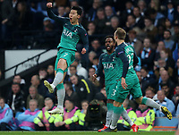 Football - 2018 / 2019 UEFA Champions League - Quarter-Final, Second Leg: Manchester City (0) vs. Tottenham Hotspur (1)<br /> <br /> Son Heung-Min of Tottenham Hotspur celebrates scoring his sides second goal to make the score 1-2, at The Etihad.<br /> <br /> COLORSPORT/PAUL GREENWOOD